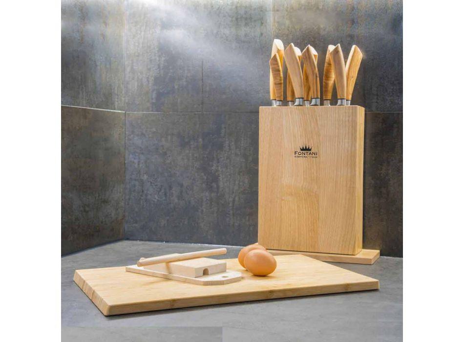 Bloque Magnético de Madera con 9 Cuchillos de Cocina Made in Italy - Bloque