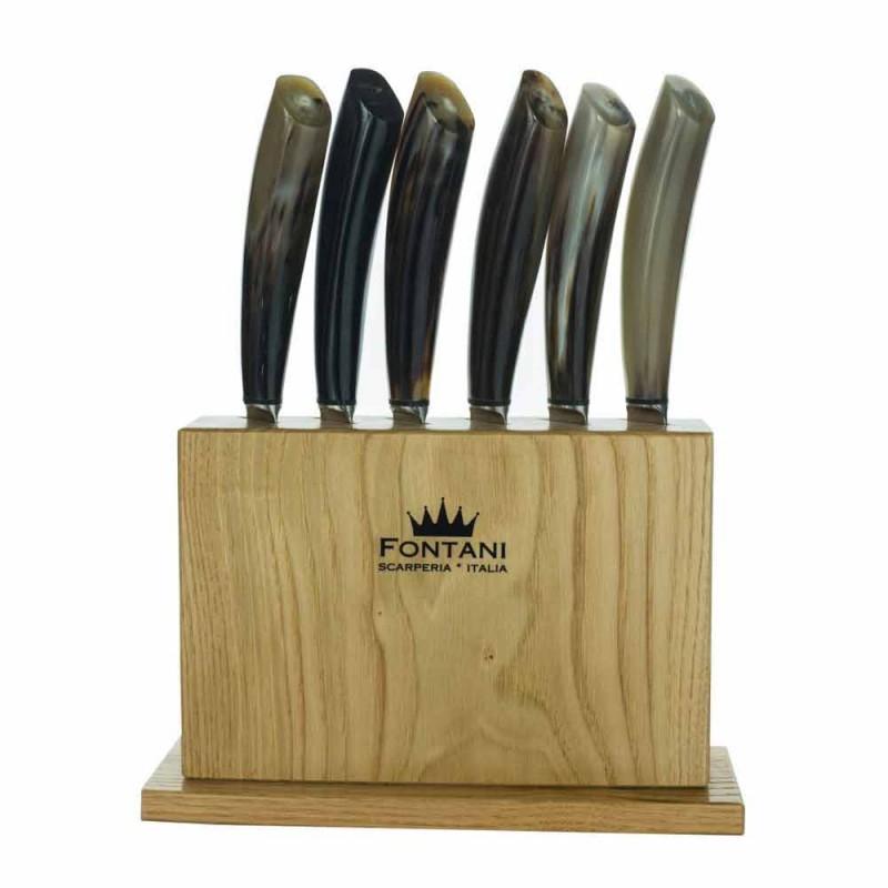 Bloque de madera de olivo con 6 cuchillos para carne Made in Italy - Bloque
