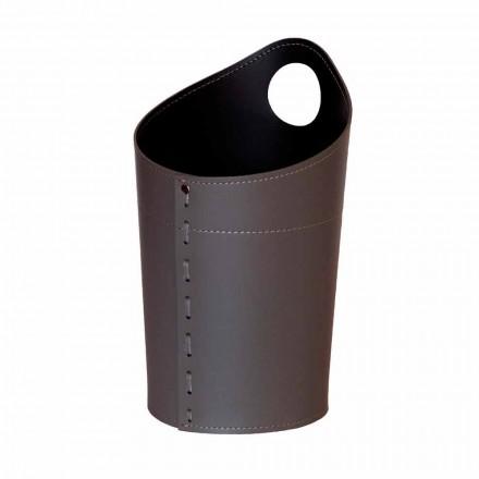 Cesto de residuos de papel reciclado en cuero artesanal Ambrogio.