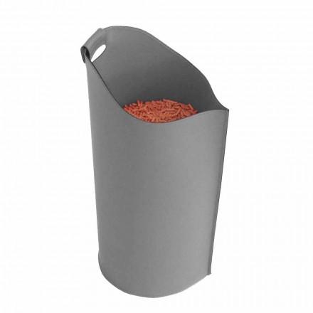 Cesta de diseño porta pellet 15 kg de cuero modelo Sapel