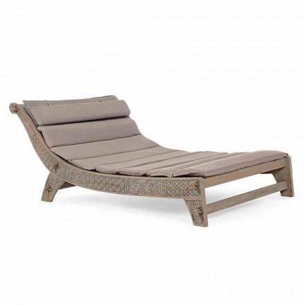 Chaise Longue de madera de teca para exteriores con incrustaciones de Homemotion - Giobbe