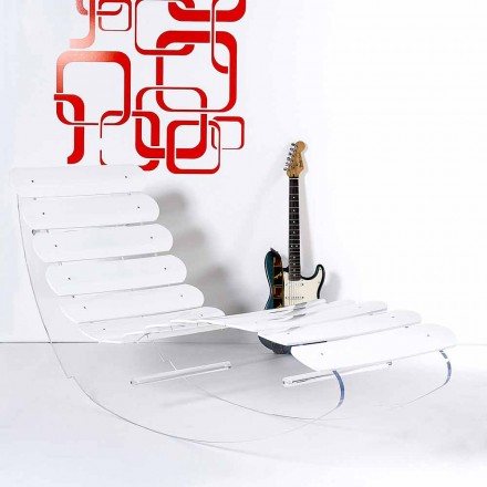 Chaise longue de diseño en plexiglás transparente Josue made in Italy