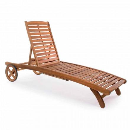 Chaise Longue de jardín en madera con ruedas de diseño para exteriores - Roxen