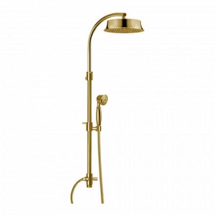 Columna de ducha clásica de latón con cabezal de ducha redondo Made in Italy - Yari