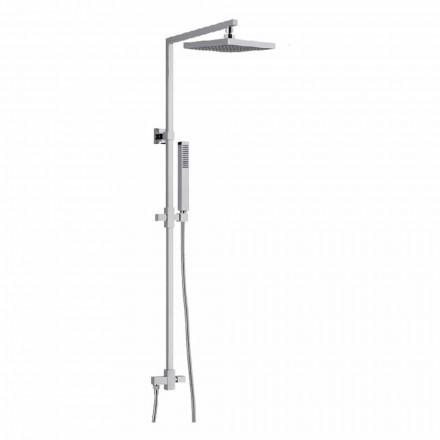 Columna de ducha de latón con cabezal de ducha cuadrado de acero Made in Italy - Regino