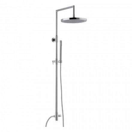 Columna de ducha en latón cromado con ducha de mano de abs fabricada en Italia - Selvio