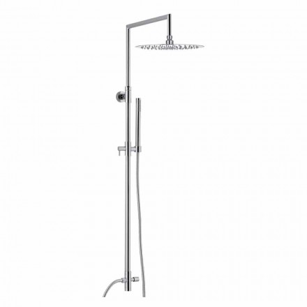 Columna de ducha de latón cromado con cabezal de ducha ultradelgado Made in Italy - Primo