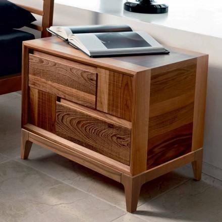 Cómoda 2 cajones en madera maciza de nogal de diseño moderno, Nino
