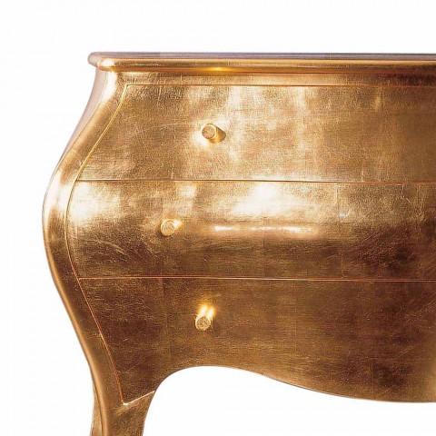 Cómoda 3 cajones en diseño de madera maciza de oro, hecha en Italia, Giotto