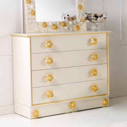 Dresser 4 cajones de diseño con perillas de madera en forma de rosas de Renoir