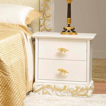 Mesa de noche 2 cajones de madera con decoraciones de oro Kush, hechas en Italia