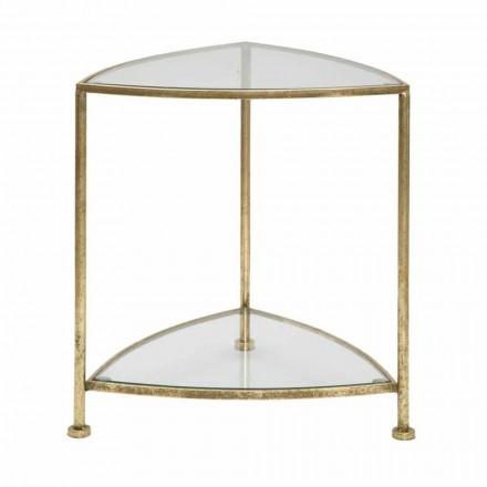 Mesita de noche triangular de diseño moderno con 2 estantes en hierro y vidrio - Kira