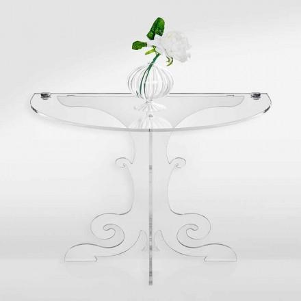 Mesita de noche de diseño clásico en cristal acrílico y PMMA, Tiana