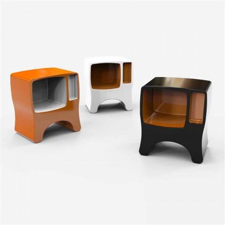 Mesita de noche de diseño en superficie sólida catódica Made in Italy
