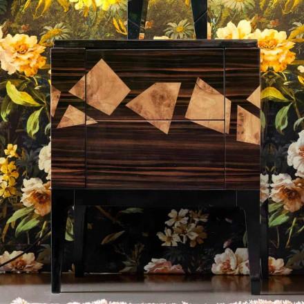 Mesita de noche en madera de nogal y ébano Grilli Zarafa hecha en Italia