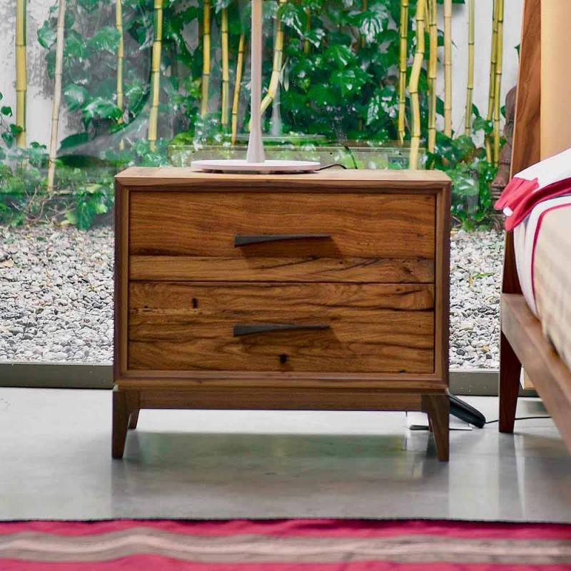 Mesita de noche moderna con 2 cajones en roble antiguo, W 60 x D 42 cm, Margo