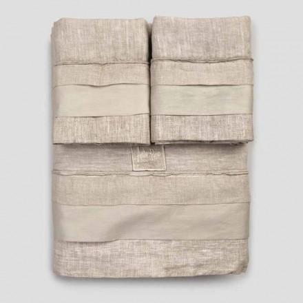 Juego de ropa de cama doble en lino claro y volantes - Balzis