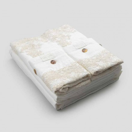Juego de ropa de cama doble en lino claro y encaje elegante - Gantelo