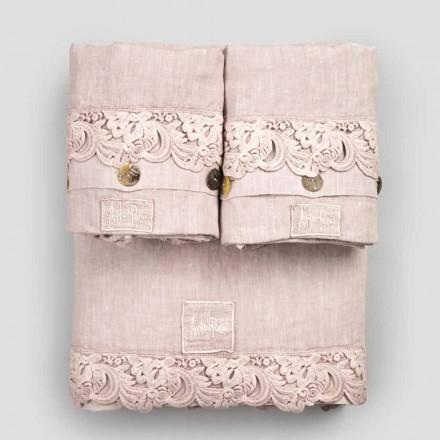 Juego de sábanas Armonia de 2 colores de lino claro y encaje para cama doble - Dettox