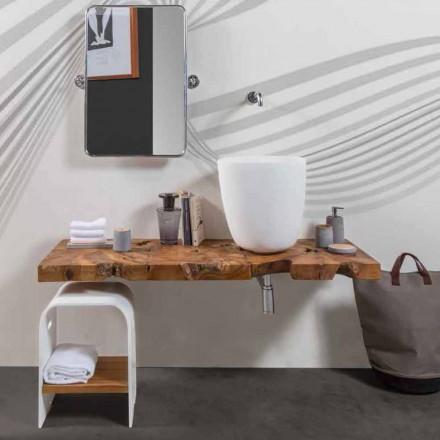 Mueble de baño suspendido Composición 3 con lavabo de resina blanca - Dazzle
