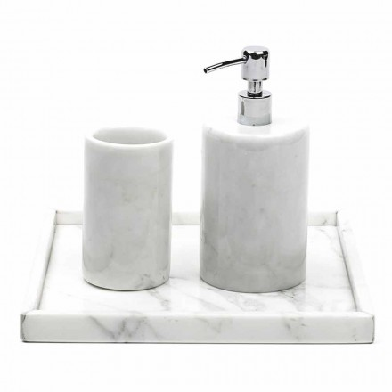Composición Accesorios de baño en mármol blanco de Carrara Made in Italy - Tuono