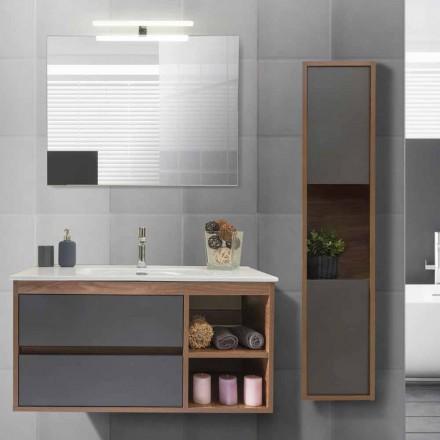 Mueble de baño 100 cm, lavabo, espejo y columna - Becky