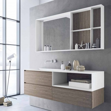 Composición de muebles de baño, diseño moderno y suspendido Made in Italy - Callisi8