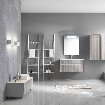 Composición de baño suspendido Muebles de diseño moderno Blanco y madera - Rossana