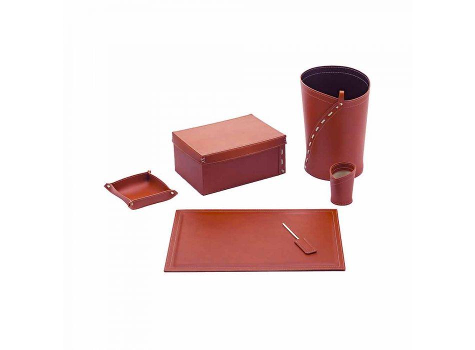 Composición de oficina de diseño moderno en cuero Made in Italy - Andrea
