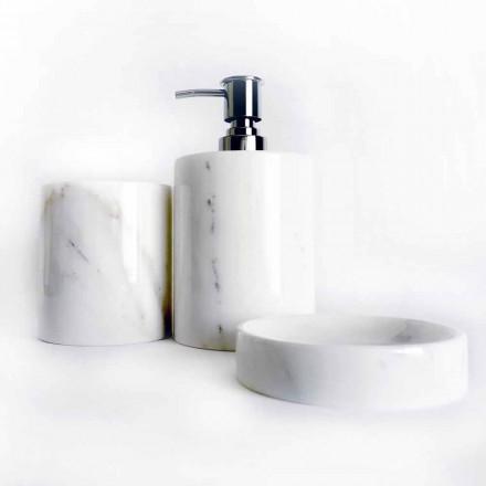 Composición de 3 accesorios de baño en mármol pulido Made in Italy - Trevio