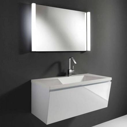 Composición de muebles de baño suspendidos modernos blancos con espejo LED - Desideria