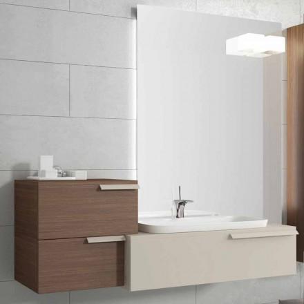 suspendida composición de muebles de baño de diseño de madera lacada de piano feliz