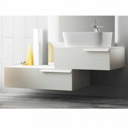 muebles de baño suspendido composición moderna de madera lacada feliz