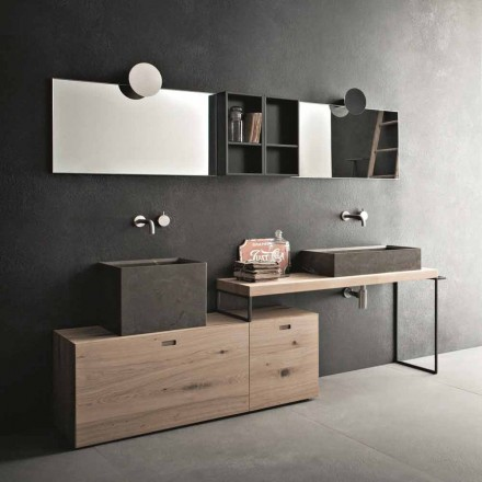 Composición de baño moderna de muebles de diseño de suelo fabricados en Italia - Farart6