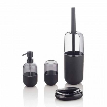 Composición moderna de accesorios de baño en plástico y caucho negro - Noto