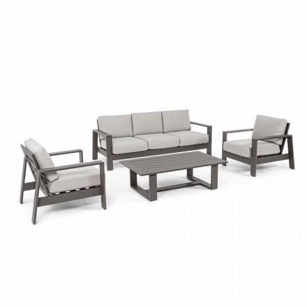 Composición de sala de estar al aire libre en aluminio con cojines de tela - Yoshi