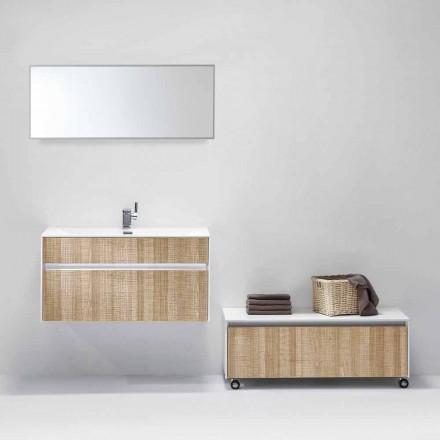 Composición suspendida de mueble de baño con espejo de diseño moderno - Rossella