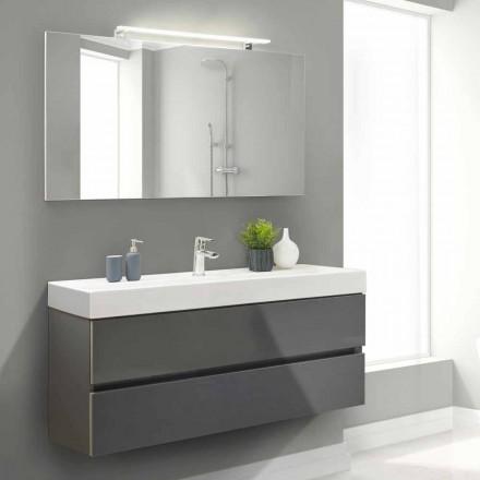 Mueble de baño 140 cm, lavabo y espejo - Becky