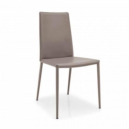 silla de cuero Connubia Calligaris Boheme, de metal moderno, 2 piezas
