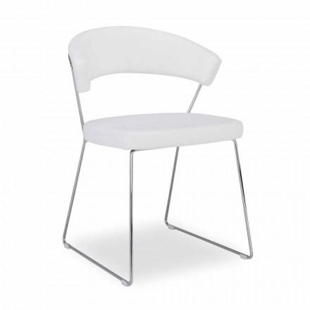 silla Connubia Nueva York Calligaris en piel de diseño moderno, 2 piezas