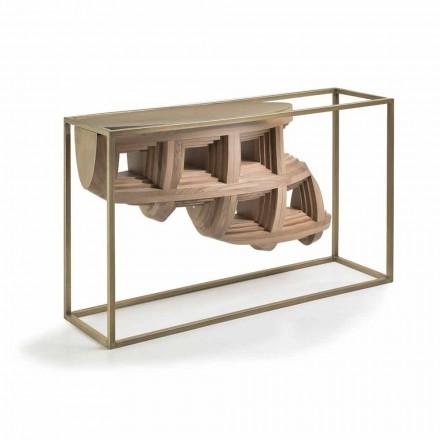 Consola de diseño de lujo en madera maciza de nogal y metal Pardo