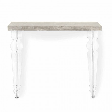 Tablero de consola de pared en madera gris, blanca o corten y plexiglás - Leopardi