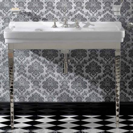 Consola de baño de cerámica blanca vintage de 105 cm con pies, Made in Italy - Marwa