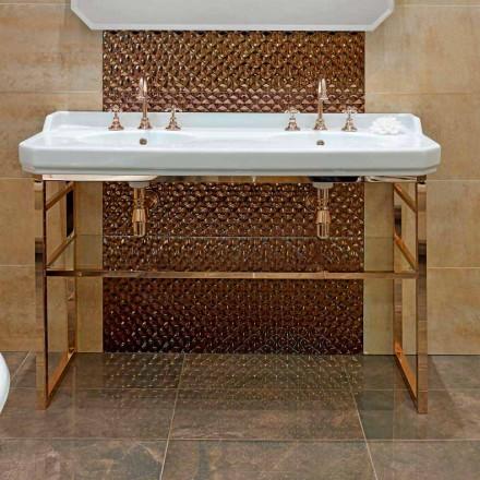 Consola de baño L 135 cm con doble cuenco en cerámica con pies - Nausica