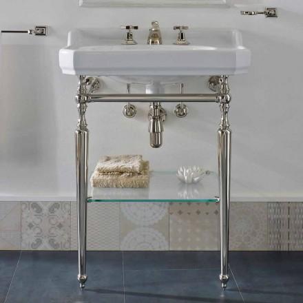 Consola de baño de cerámica de 65 cm con pies de metal Made in Italy Nausica
