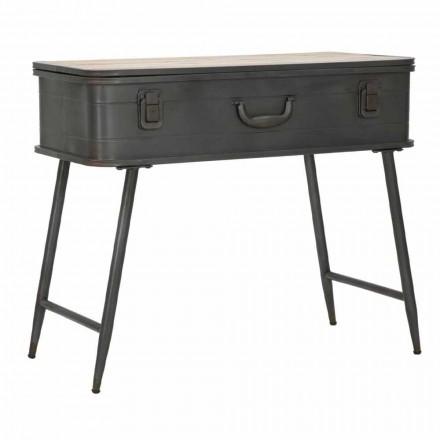 Consola con contenedor de hierro y madera de diseño industrial - Gomes