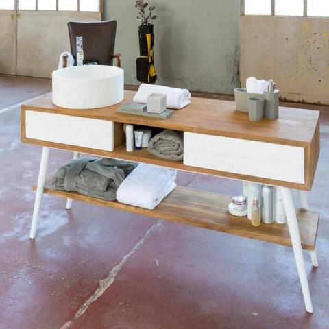 Consola de baño de teca de diseño moderno en teca natural Pistoia