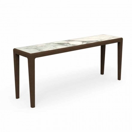 Consola moderna para exteriores en madera de teca y gres Capraia - Cruise Teak Talenti