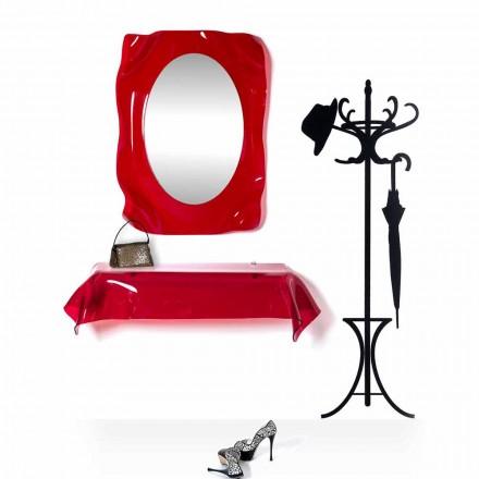 Consola de diseño moderno en plexiglás rojo transparente. drapeado Wish