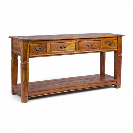 Consola de diseño clásico en madera maciza de acacia con 4 cajones - Curcuma